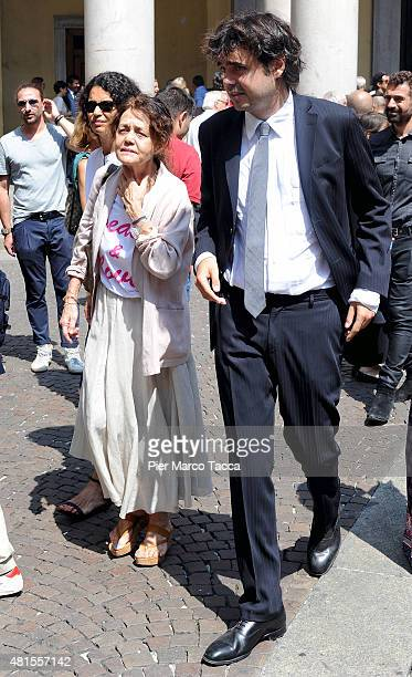 Afef Jnifen Milly Moratti and Angelo Moratti attend the funeral of Elio Fiorucci on July 22 2015 in Milan Italy Stylist Elio Fiorucci was one of the...