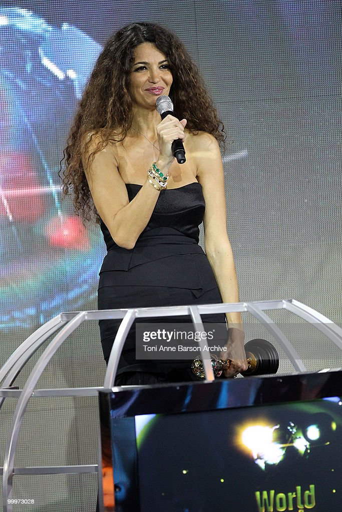 Afef Jnifen speaks on stage during the World Music Awards 2010 at the Sporting Club on May 18, 2010 in Monte Carlo, Monaco.