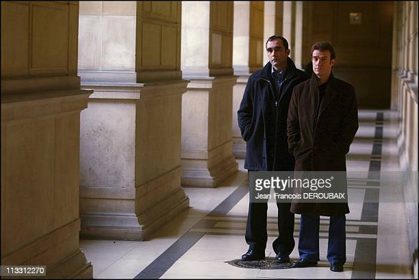 Affair Francis Heaulme 'Dans La Tete D'Un Tueur' Telefilm On Tf1 On January 12Th 2005 In Paris France Thierry Fremont And JeanFrancois Abgrall At The...