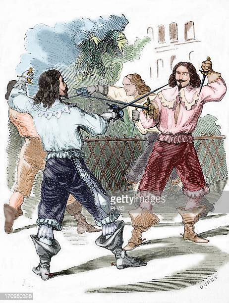 Affair of honor Duel with swords to repair personal offense 18th century Engraving by Dupre Colored