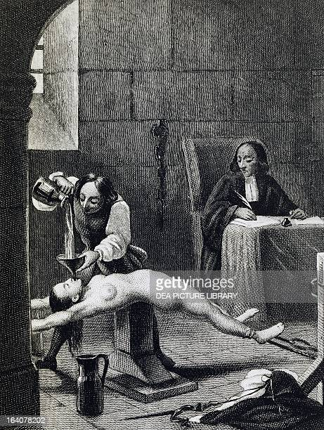 Affair of the Poisons MarieMadeleine d'Aubray Marquise de Brinvilliers in the interrogation room engraving 19th century France Paris Musée Des...