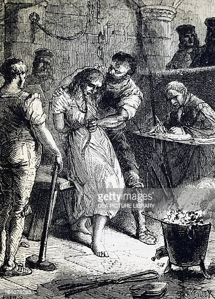Affair of the Poisons, questioning the fortune teller Catherine Deshayes, known as La Voisin on engraving from 19th century. France.