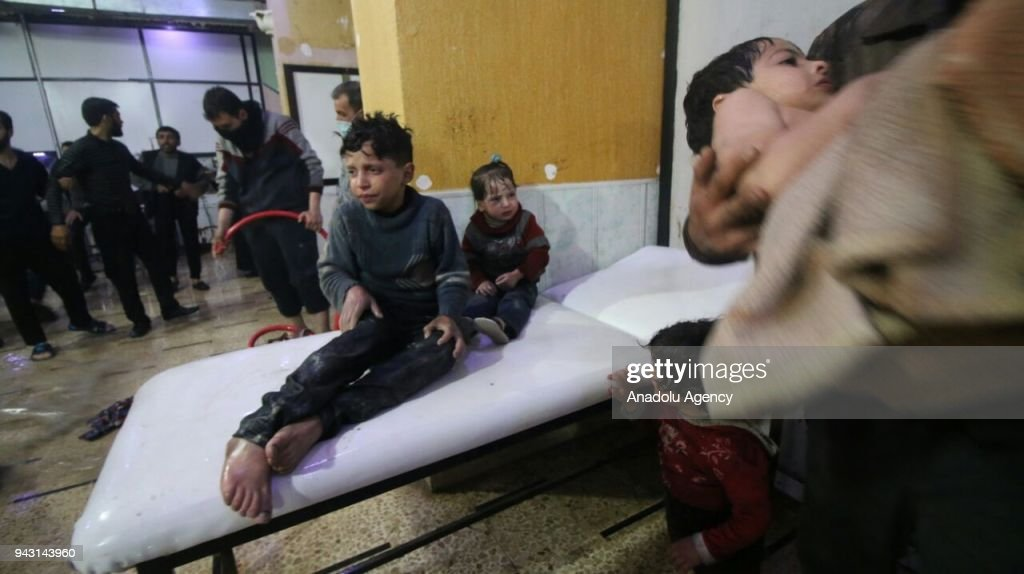 Affected Syrian kids wait to receive medical treatment after Assad regime forces allegedly conducted poisonous gas attack to Duma town of Eastern Ghouta in Damascus, Syria on April 07, 2018.