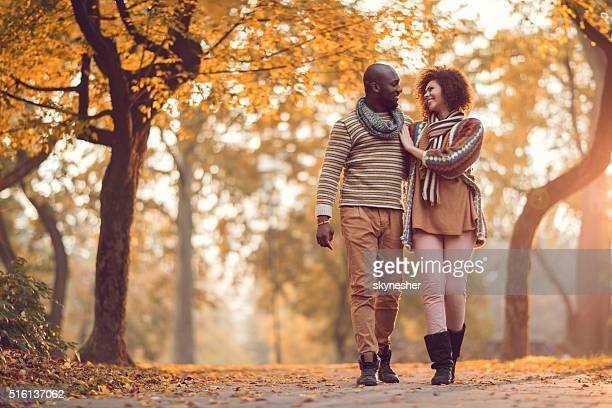 Affectionate African American couple walking in nature during autumn.