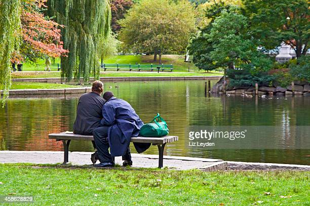 Affectionate African-American couple at the pond in Boston Common