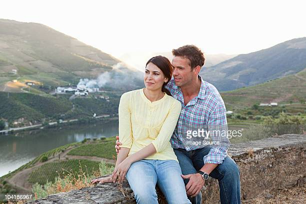 affectionate mid adult couple on holiday - douro valley stock photos and pictures