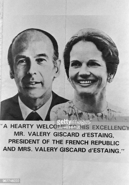 Affiche de bienvenue pour la visite du président français Valéry Giscard d'Estaing et son épouse AnneAymone le 25 janvier 1980 à New Delhi Inde