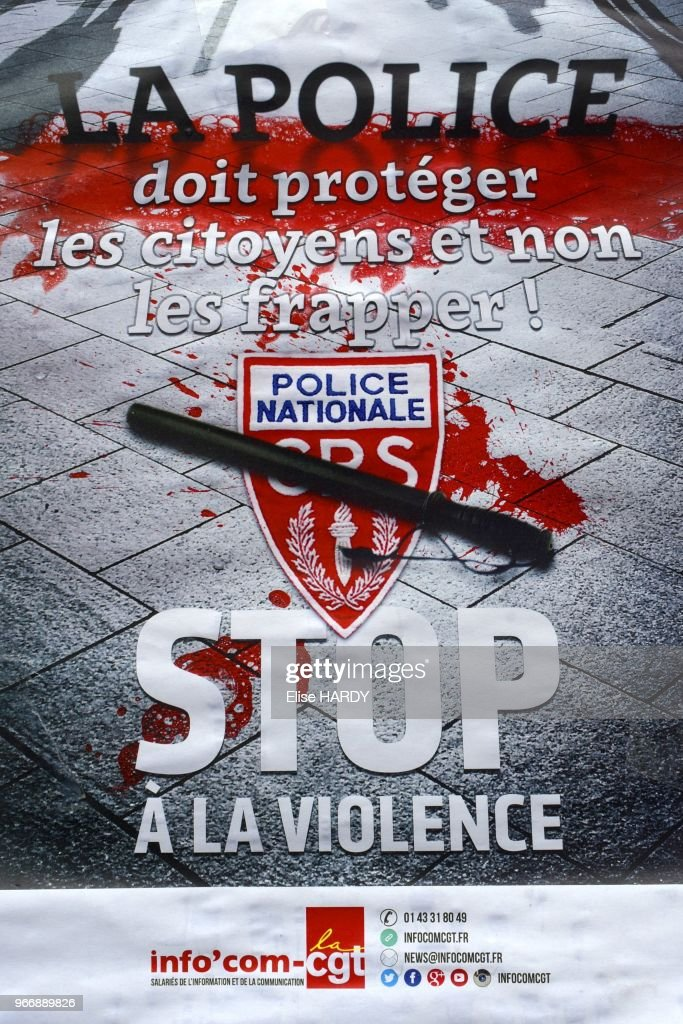 French trade union poster against police brutality