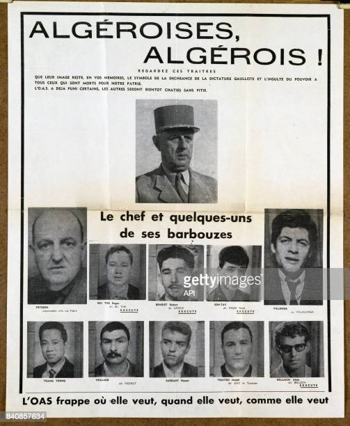 Affiche de propagande de l'OAS diffusée à Alger en 1962 présentant De Gaulle comme un traître pendant la guerre d'Algérie