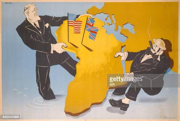 Affiche de propagande du régime de Vichy représentant le partage de l'Afrique par Franklin Delano Roosevelt et Winston Churchill pendant la Seconde...