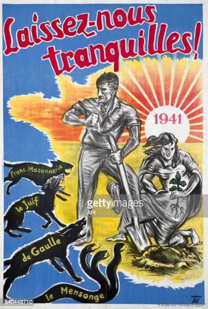 Affiche de propagande du régime de Vichy représentant un couple de paysans français menacé par la francmaçonnerie les juifs De Gaulle et le mensonge...