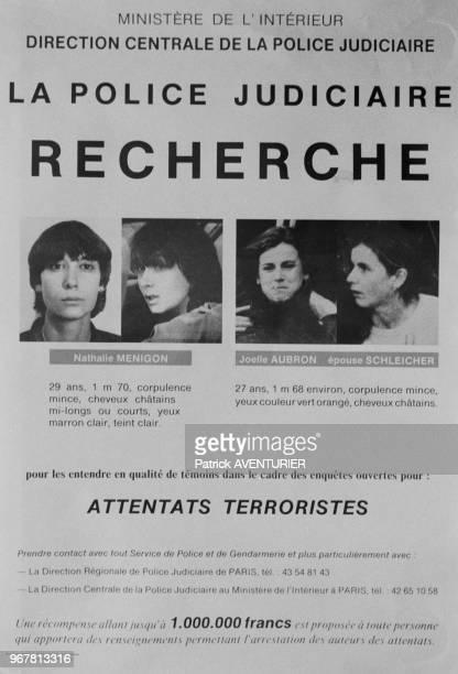 Affiche de recherche de Nathalie Ménigon et Joelle Aubron diffusée par la police après le meutre de Georges Besse Paris le 20 novembre 1986 France