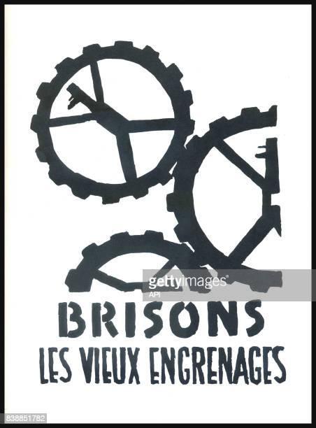 Affiche des manifestations de mai 1968 'brisons les vieux engrenages' réalisée par l'Atelier Populaire des BeauxArts France