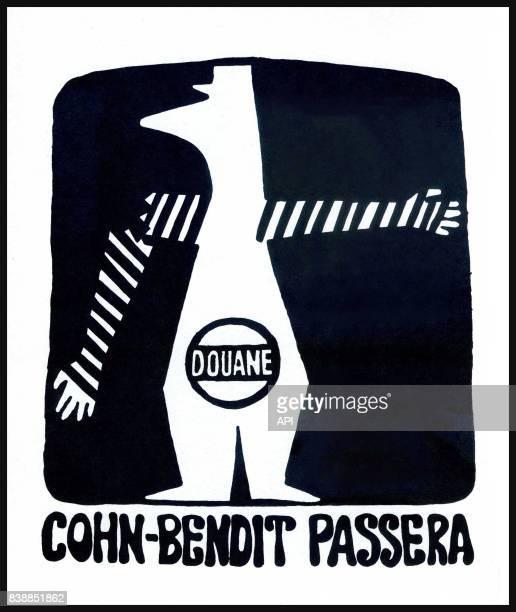 Affiche des manifestations de mai 1968 'douanes CohnBendit passera' réalisée par l'Atelier Populaire des BeauxArts France