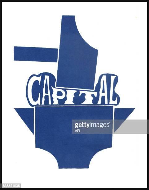 Affiche des manifestations de mai 1968 représentant le mot 'capital' écrasé entre un marteau et une enclume réalisée par l'Atelier Populaire des...