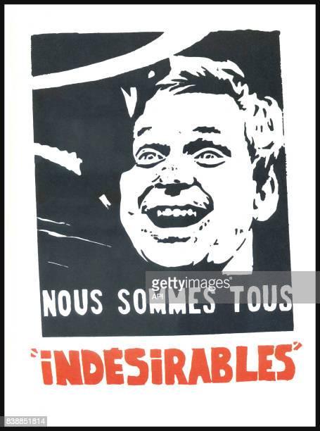 Affiche des manifestations de mai 1968 représentant un portrait de Daniel CohnBendit avec la mention 'nous sommes tous indésirables' réalisée par...