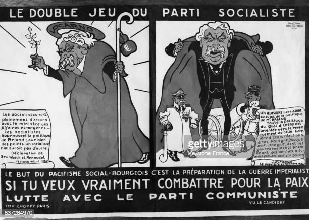Affiche électorale satirique dénonçant le 'pacifisme socialbourgeois' d'Aristide Briand circa 1930 en France