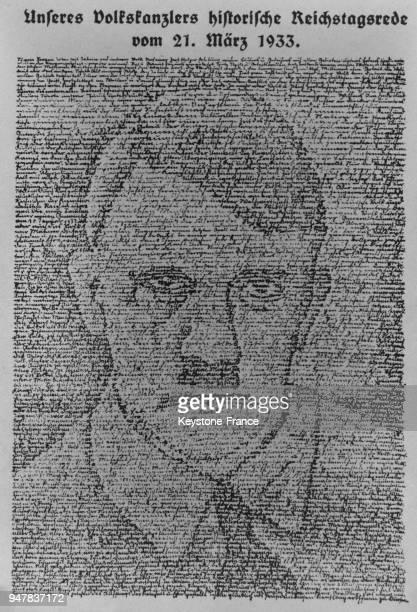 Affiche nazi représentant le portrait de Hitler, en Allemagne en juillet 1934.