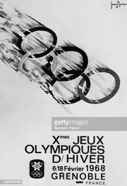 L'affiche officielle des Jeux olympiques d'hiver de Grenoble réalisée par Jean Brain en France en juillet 1967