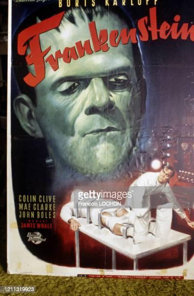Affiche originale du film 'Frankenstein' de 1931 à Los Angeles en 1981, Etats-Unis.
