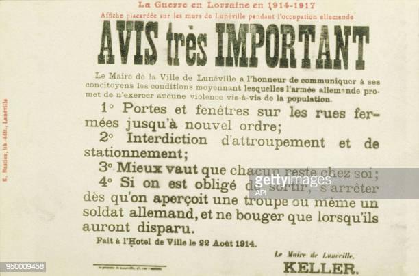 Affiche placardée pendant l'occupation allemande entre 1914 et 1917 à Lunéville Première Guerre Mondiale France