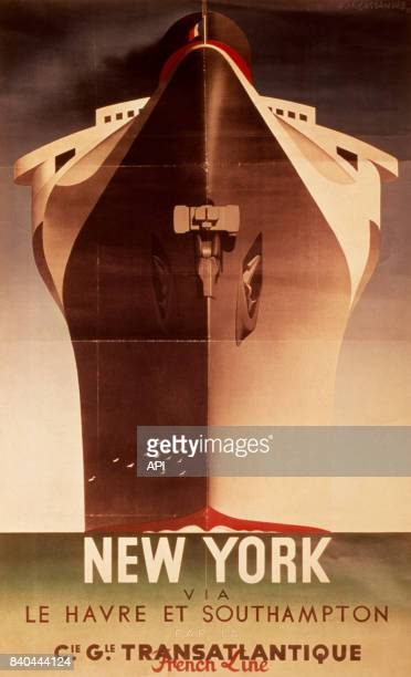 Affiche publicitaire de la Compagnie générale transatlantique , effectuant la liaison maritime entre New York, Southampton et Le Havre.