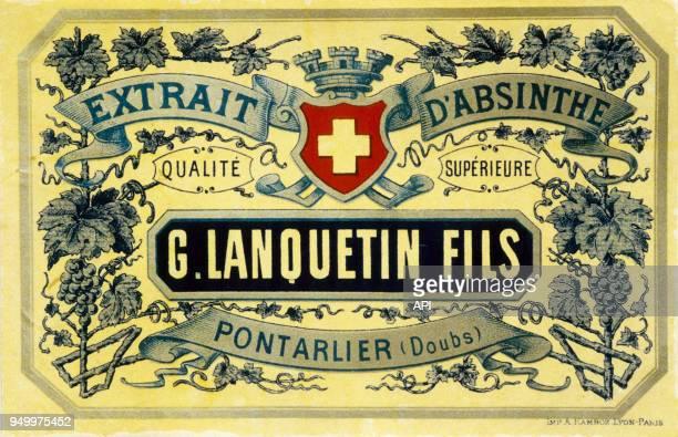 Affiche publicitaire pour l'absinthe G Lanquetin Fils Paris france