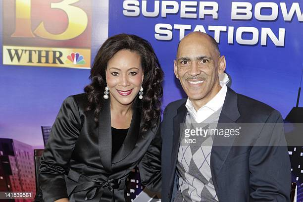 Andrea Morehead Tony Dungy Studio Analyst Photo by Paul Drinkwater/NBC/NBCU Photo Bank