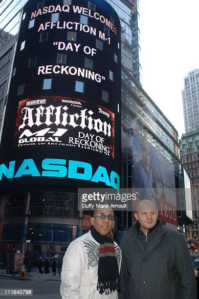 Affliction Entertainment Vice President Tom Atencio and Current WAMMA Heavyweight Champion of the World Fedor Emelianenko attend the ringing of the...