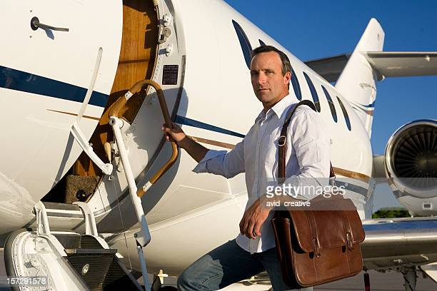 Affluent Travel-Man Boarding Private Jet
