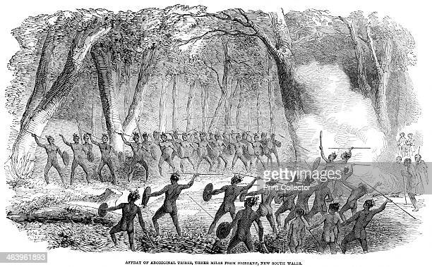 'Affray of Aboriginal three miles from Brisbane New South Wales' 1854 An engraving from The Illustrated London News 17th June 1854