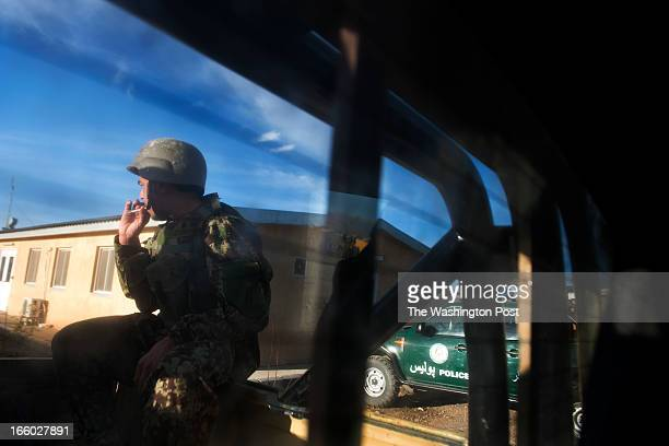 Afghan Army sergeant Khialy Jan prepares to go out on patrol on Saturday March 30 2013 on the Afghan Army Camp Maiwand in Logar Province Afghanistan...