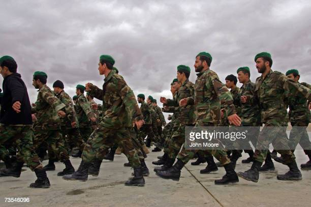 Afghan Army soldiers march to a briefing at Camp Shorabak March 11, 2007 in Afghanistan's Helmand province. Tomorrow Afghan soldiers are due to head...
