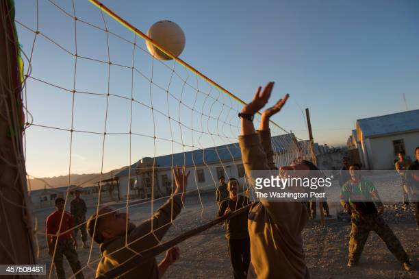 Afghan Army soldiers play volley ball on the Afghan Army base Maiwand Camp on Saturday March 30 2013 in Logar Province Afghanistan Afghan Army...
