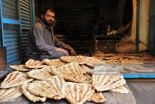 Afghan bread seller, Kabul's market / bazaar