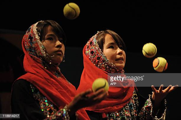"""Afghan children from The Community Centre for the Disabled take part in a performance on child labour to honour """"World Day Against Child Labour"""" at..."""