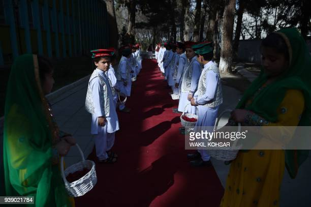 Afghan children take part in an event to celebrate the Afghan national team qualification to the 2019 cricket World Cup in Kabul on March 27 2018...