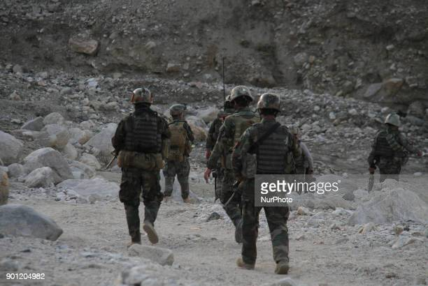 Afghan commandos forces take part in an operations against the Taliban IS and other insurgent groups in Achin district of Nangarhar province...