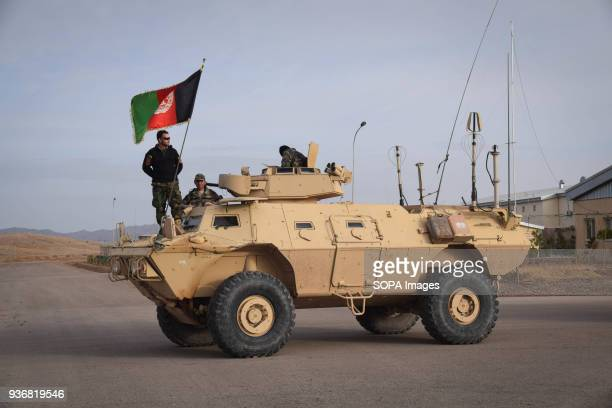 Afghan Commandos on a Mobile Strike Force Vehicle in Shindand Military Base Herat province Afghanistans elite military forces the Commandos and the...