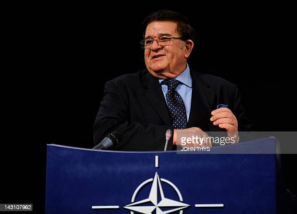 Afghan Defence Minister Abdul Rahim Wardak speaks during a press conference at the end of Foreign Council meeting at the NATO Headquarters in...