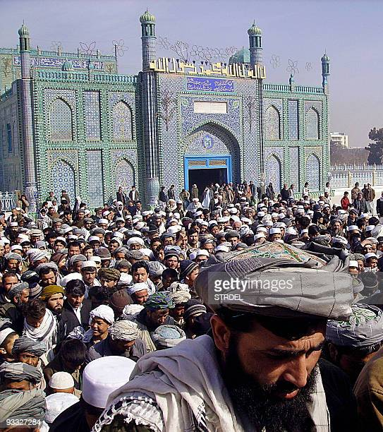 Afghan demonstrators gather in front of the shrine of HazratiAli to protest the reprinting of the Prophet Muhammad cartoons in Denmark and an...