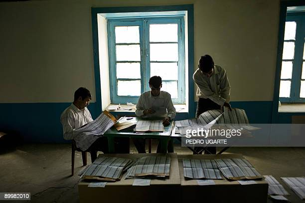Afghan election workers count votes at a polling station on Kabul on August 21 2009 Votes were counted in Afghanistan after a presidential election...