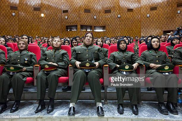 Afghan female officers attend their graduation ceremony for the first class of 29 women September 23, 2010 in Kabul, Afghanistan. Over the last 20...