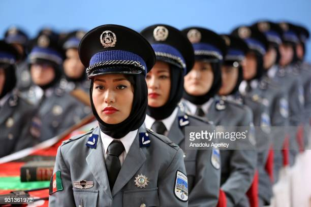 Afghan female police cadets are seen during their graduation ceremony at Sivas Police Vocational Center Directorate in Sivas, Turkey on March 13,...