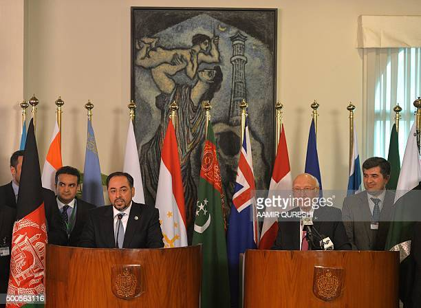 Afghan Foreign Minister Salahuddin Rabbani speaks during a joint press conference with Pakistan's National Security Advisor Sartaj Aziz at The...
