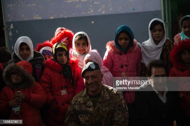 Afghan girls of the Ansari female orphanage meet the Italian soldiers before to go at school on November 7 2018 in Herat Afghanistan The support to...
