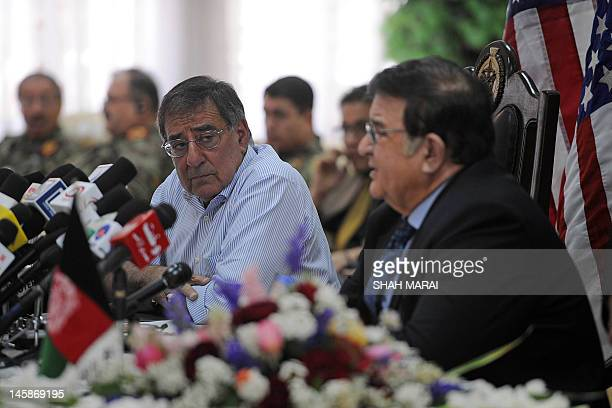 Afghan Minister of Defence Abdul Rahim Wardak speaks during a joint press conference with US Secretary of Defense Leon Panetta in Kabul on June 7...