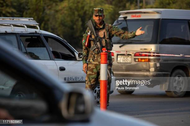 Afghan National Army check cars at a checkpoint in Kabul, Afghanistan on September 27, 2019. Afghans will head to the polls tomorrow as the Taliban...