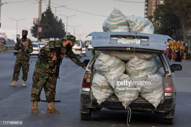 Afghan National Army check cars at a checkpoint in Kabul Afghanistan on September 27 2019 Afghans will head to the polls tomorrow as the Taliban have...