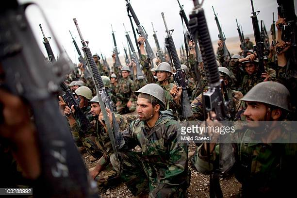 Afghan National Army recruits take part in a training exercise, on August 8, 2010 in Kabul, Afghanistan. Reports suggest that the US are keen to...